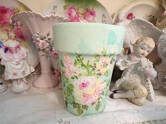 (Italy Rose) Handpainted Pot
