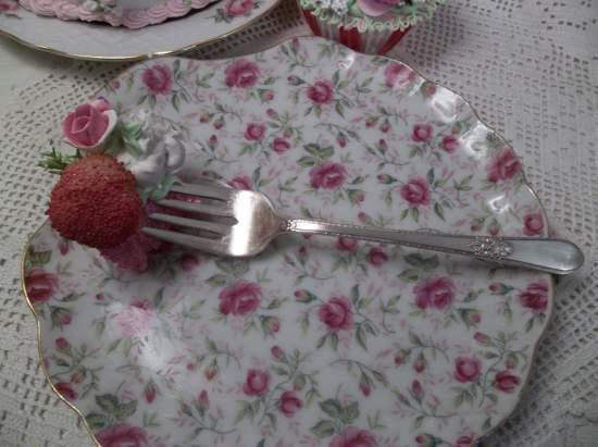 (Strawberry Short Cake) Vintage Fork, Bite Of Fake Cake