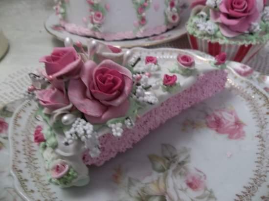 (Rose Tart) Fake Cake Slice