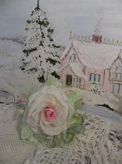 (Meg) German Glass Glittered Handmade Paper Rose Clip
