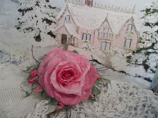 (Beth) German Glass Glittered Handmade Paper Rose Clip