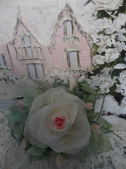 (Amy) German Glass Glittered Handmade Paper Rose Clip