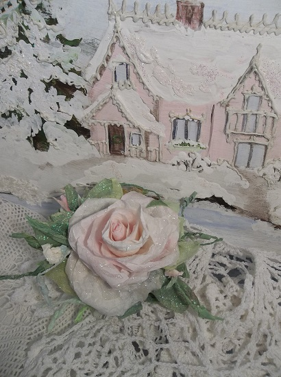 (Miss Myra) Prism Glittered Handmade Paper Rose Clip