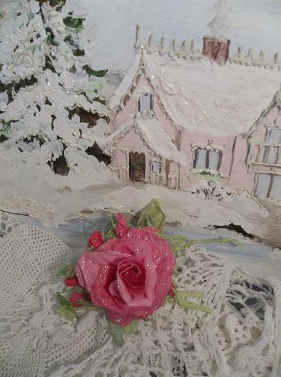 (Beckie) Prism Glittered Handmade Paper Rose Clip