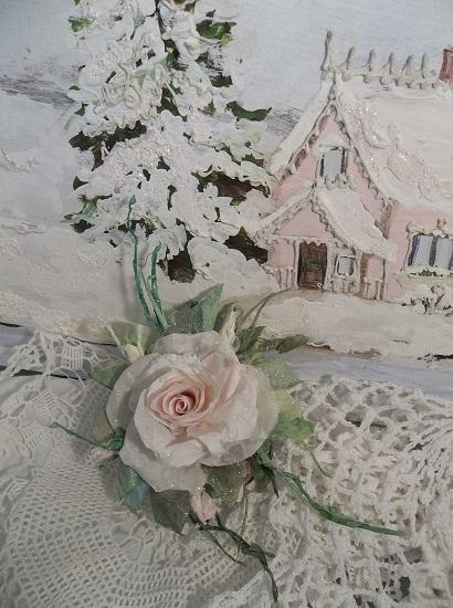 (Silent Night) Prism Glittered Handmade Paper Rose Clip