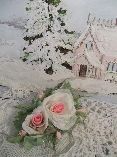 (Roses Of Bethlehem) Prism Glittered Handmade Paper Rose Clip