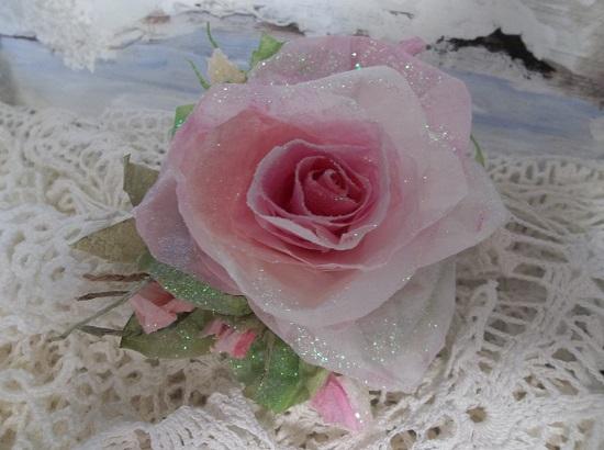 (Katrinda) Prism Glittered Handmade Paper Rose Clip