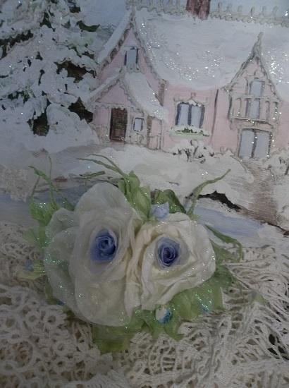(Lacinda) Prism Glittered Handmade Paper Rose Clip