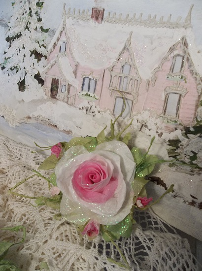 (Lillianna) Prism Glittered Handmade Paper Rose Clip