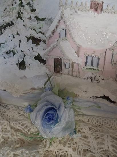 (Matilda) Prism Glittered Handmade Paper Rose Clip