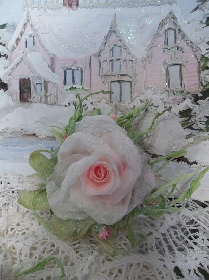 (Rockin Rhonda) Prism Glittered Handmade Paper Rose Clip