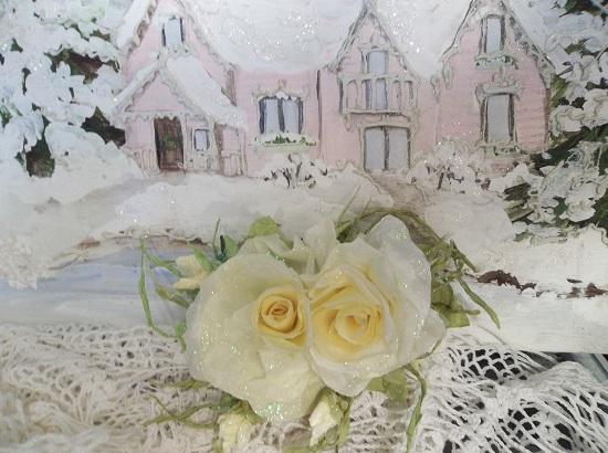 (Davita) Prism Glittered Handmade Paper Rose Clip