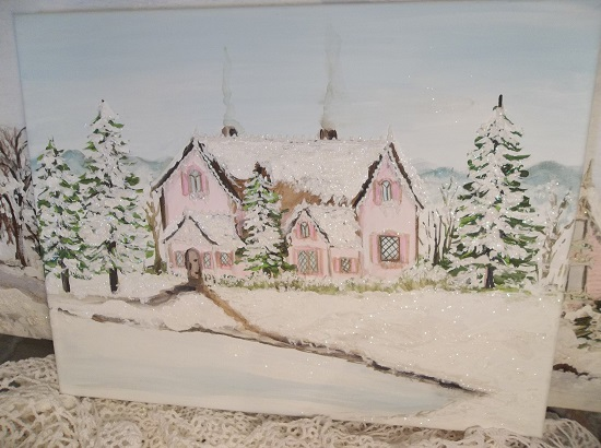 (Kringle Cottage) Original Handpainting In Acrylics On Stretched Canvas