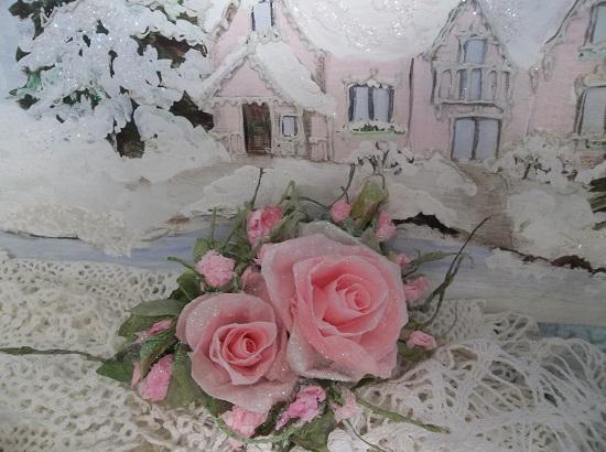(Wowza) German Glass Glittered Handmade Paper Rose Clip