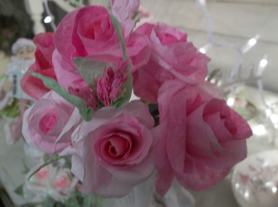 (Rabbit Roses) 12 stems 6 Handmade Paper Roses And 6 Buds On Stems