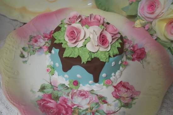(Aqua fina) SHABBY COTTAGE  ROSE DECORATED FAKE CAKE
