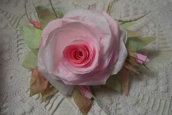 (Rosa Bella) Victorian Paper Rose Clip Lamp Decor Chic n Shabby