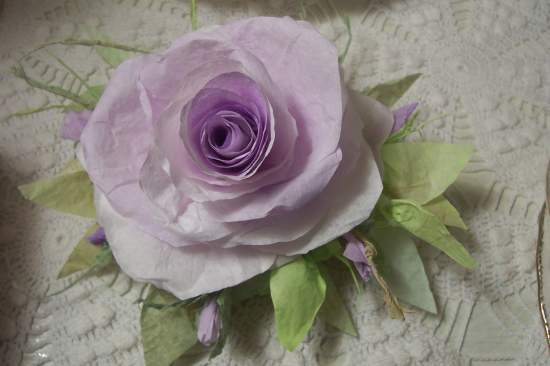 (Lilac Lisa) Victorian Paper Rose Clip Lamp Decor Chic n Shabby