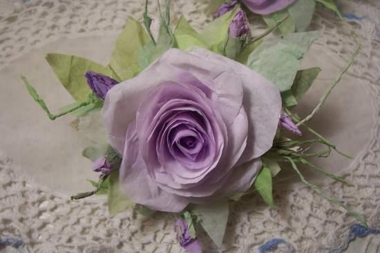 (Teresa)  Victorian Paper Rose Clip Lamp Decor Chic n Shabby