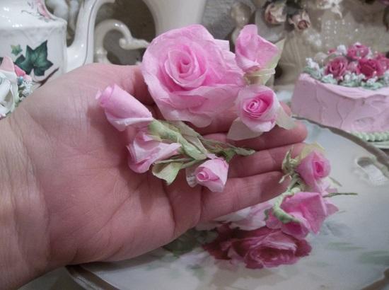 (Arbor Rosa) 4 Small Stems of handmade paper roses .
