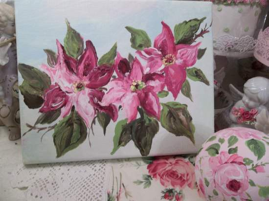 (Pointsettia) Original acrylic painting by Rhonda Motteberg on stretched Canvas