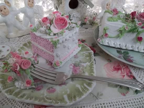 (Pistachio Rose) Vintage Fork, Bite Of Fake Cake