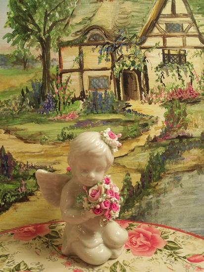 (Cheri) Clay Roses! Victorian, Valentine's Day, Romantic, Decor., A Perfect Little Angel!