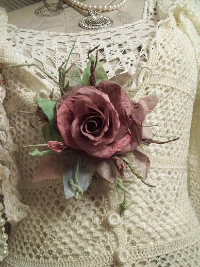 (Raspberry Cocoa) Handmade Paper Rose Clip