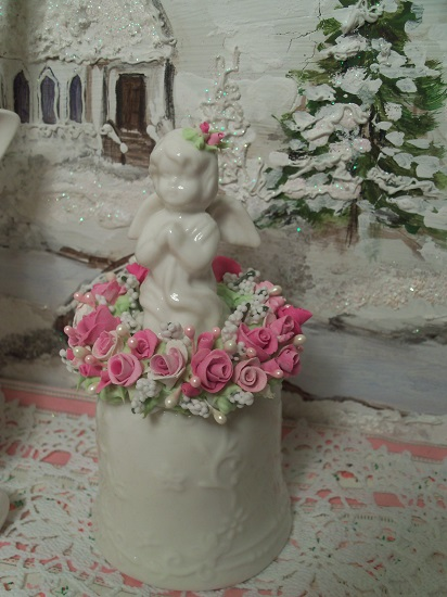 (Angie Bella) Decorated Ceramic Angel Bell