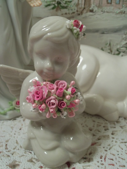 (Flower Child) Pretty Ceramic Angel, Cupid Holding Handmade Clay Roses! Victorian, Valentine's Day, Romantic, Decor, A Perfect Little Angel!