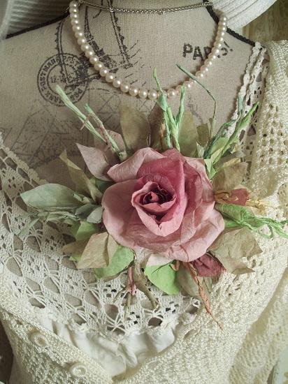 (Madalynn) Handmade Paper Rose Clip