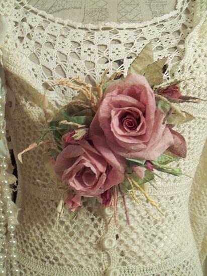 (Karen) Handmade Paper Rose Clip