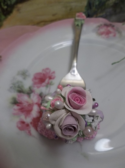 (Bessie) Vintage Fork, Bite Of Fake Cake
