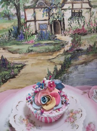(Rhonda's Rainbow & Roses) Fake Cupcake