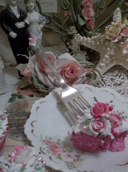 (Strawberry Cake With Raspberry Roses) Vintage Fork, Bite Of Fake Cake