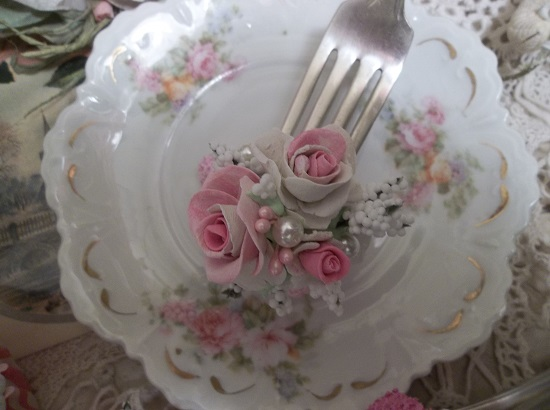 (Rose Cake With Pearl) Vintage Fork, Bite Of Fake Cake
