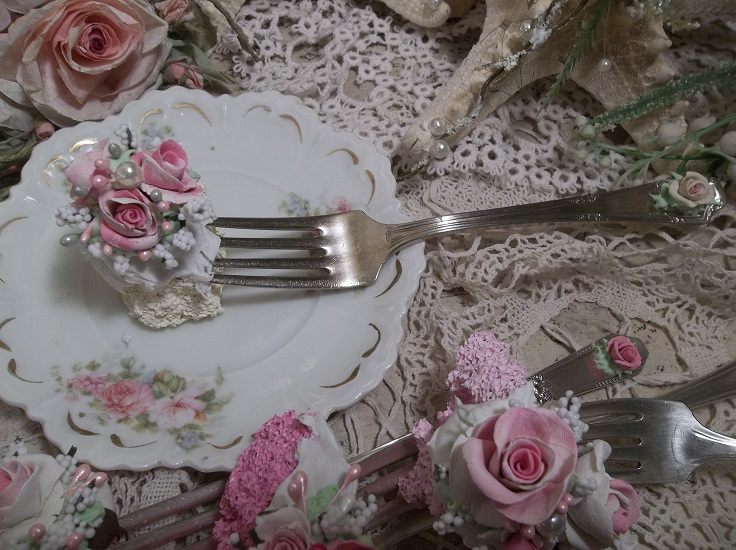 (Butter Cake With Roses) Vintage Fork, Bite Of Fake Cake