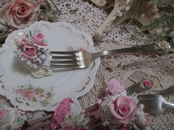 (Butter Cake With Roses) Vintage Fork, Bite Of Fake Cake