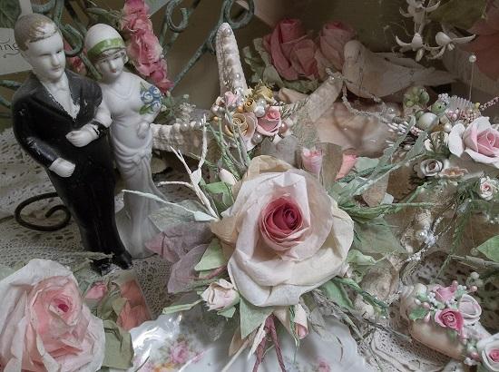 (Vintage Victoria) Handmade Paper Rose Clip