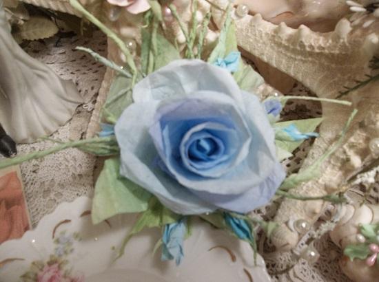 (Minnesota Sky) Handmade Paper Rose Clip