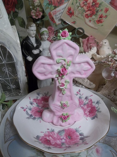 (Kristina) Ceramic Cross Decorated With Handmade Clay Roses By Rhonda Motteberg