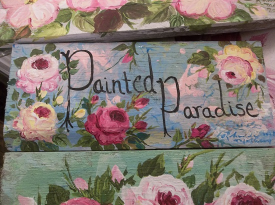 (Painted Paradise) Handpainted Sign