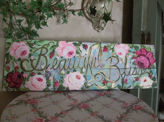 (Beautiful Bliss) Handpainted Sign (Cracked Board)