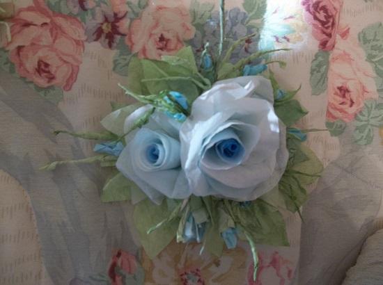 (Blue Sky) Handmade Paper Rose Clip