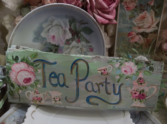 (Tea Party Sign) Handpainted Sign