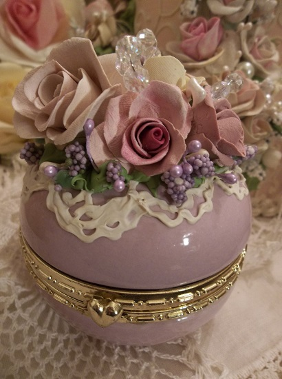 (Carol) Decorated Glass Trinket Box