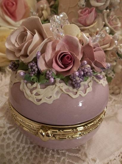 (Carol) Decorated Glass Trinket Box