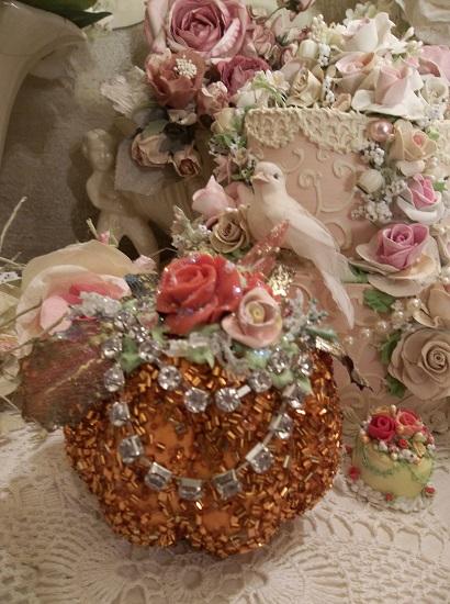 (Diamond) Decorated Glitzy Bead Covered Pumpkin