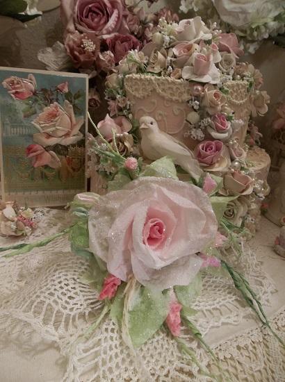 (Donna) German Glass Glittered Handmade Paper Rose Clip