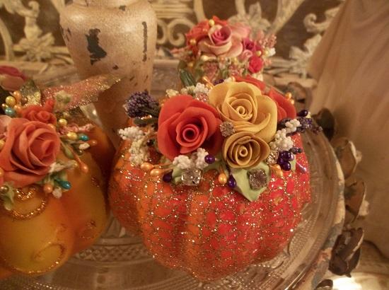 (Sage) Decorated Foam Pumpkin